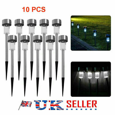 10Pcs COLOUR CHANGING STAINLESS STEEL SOLAR LED GARDEN PATIO POST OUTDOOR LIGHTS