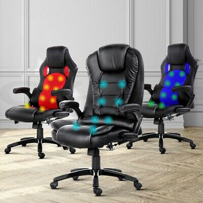 Artiss Massage Office Chair Computer Gaming Chairs Heated Reclinier 8-Point