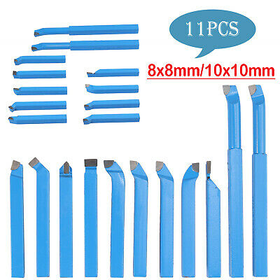 11Pcs 8/10mm Metal Lathe Tool Set Carbide Tip Cutting Turning Tool Set Bit