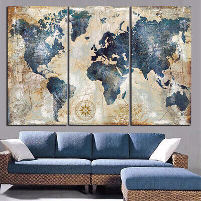 3Pcs World Map Wall Art Paintings No Frame Home Living Room Decor Gift Funny