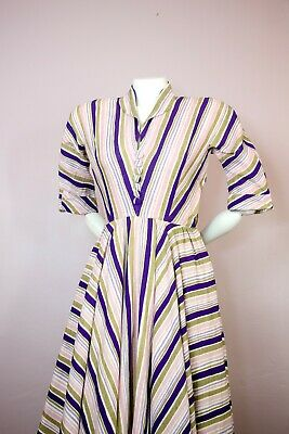 Vtg 1940s 50s Couture Bespoke Linen Candy Stripe Fit Flare Midi Shirt Dress