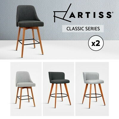 Artiss Bar Stools Kitchen Stool Wooden Barstools Leather Fabric Swivel x2 x4