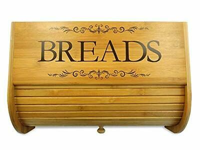 Roll Top Bread Box Bamboo Food Safe Storage Bin Organizer With Sliding Lid