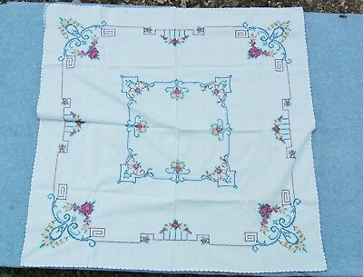 """Cross Stitch Tablecloth Table Cover 32""""x 31"""" Vintage Hand Work Arts Crafts Style"""