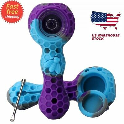"HORNET Honeycomb FDA Silicone Glass Smoking Tobacco Pipe 4"" One Hitter Dugout"