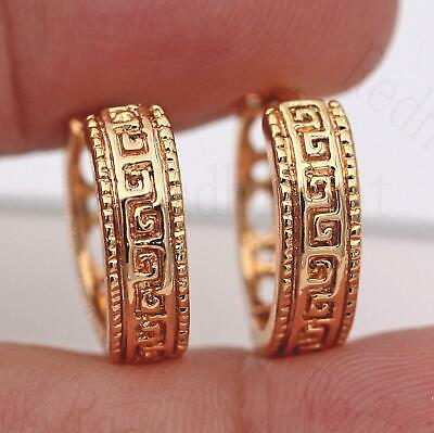 """18K Gold Filled Carving """"2"""" Round Hollow Tribe Geometric Hoop Earrings SW"""