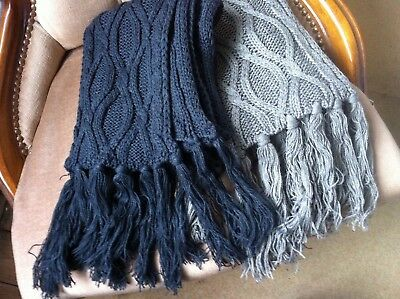 2 Scarves Chunky Knitted Cable Knit Brand New Grey and Taupe