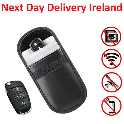 Keyless Car Key RFID Signal Blocker Faraday Bag Pouch Fob Wallet Leather Case