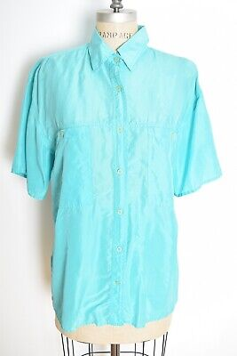 vintage 90s silk shirt aqua blue button up short sleeve blouse top over sized