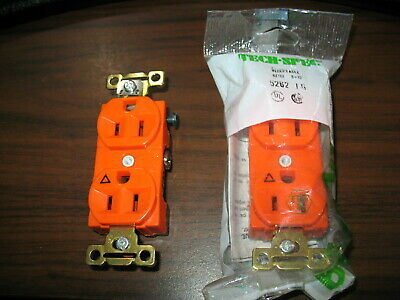 NNB Lot of 2 Bryant 5262-IG Isolated Ground Orange Receptacles (15A,125V)