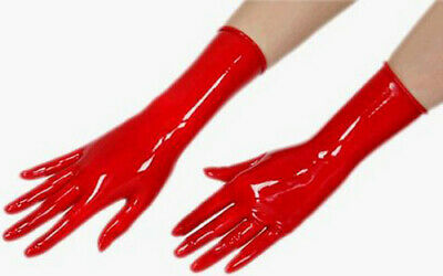 Latex Rubber Red Cool Short Handschuhe Fashion Five Fingers Glove Size S-XL