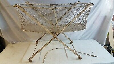 Antique Wrought Iron Victorian folding  Cot the universal cot vintage odd rare