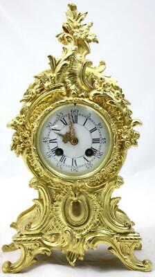 Antique Mantle Clock French Stunning C1900 Embossed Pierced Bronze Bell Striking