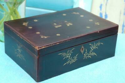 Antique Japanese Lacquer Writing Artists Box Hand Painted Meiji Period c.1880's