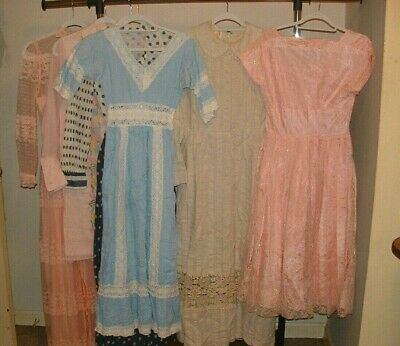 6 Piece Vintage Lot 60s 70s Dresses Prairie Boho Lace Crochet Embroidery Maxi