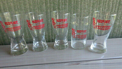 5 Vintage Pizza Hut Glass~Red Restaurant & Pizza Pete Logo Beer/Water