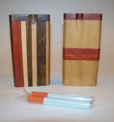 "Two Piece Set 4"" x 2"" Wood Dugout One Hitter Smoking Pipes with Cigarette Bats"