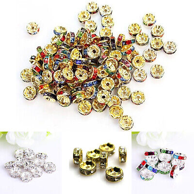 Beads & Jewellery Making 100Pcs 8mm Rhinestone Crystal Rondelle Spacer