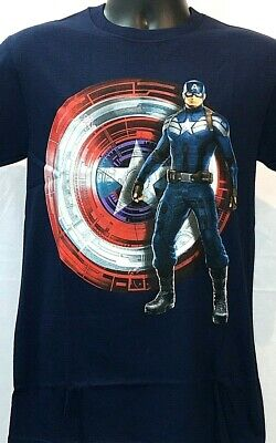 Captain America Mens Various Sizes Blue Official Licensed Tee Captain And Shield