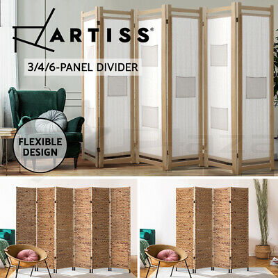 Artiss 3/4/6 Panel Room Divider Screen Privacy Dividers Stand Wooden Natural Var