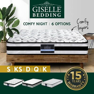 Giselle Bedding Queen Mattress Double King Single Pocket Spring Foam Bed