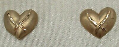 Vintage SOLID 14K YELLOW GOLD Diamond-Cut Textured Heart Designer Post Earrings