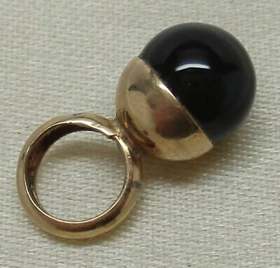 Vintage SOLID 14K YELLOW GOLD Genuine ONYX Ball Pendant by PETER BRAMS DESIGNS