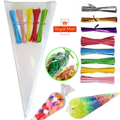 50pcs Clear Cellophane Cone Bags Twist Ties Party Sweet Cello Candy Large size