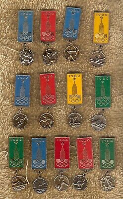 #D490.  Thirteen(13) 1980 Moscow Olympic Event Badges