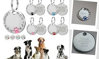 ENGRAVED Dog ID / Cat ID Name Bling Tag Personalised Puppy Pet ID Tags