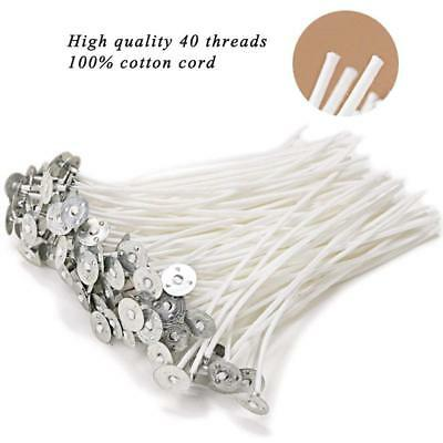"""100% Natural Cotton Core Candle Wick Low Smoke 6"""" Pre-Waxed ,For Candle Making"""