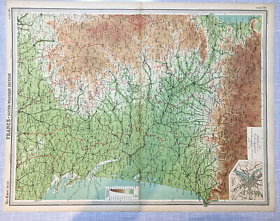 1922 Antique Old Map Bartholomew Times Atlas Of France South Western Section