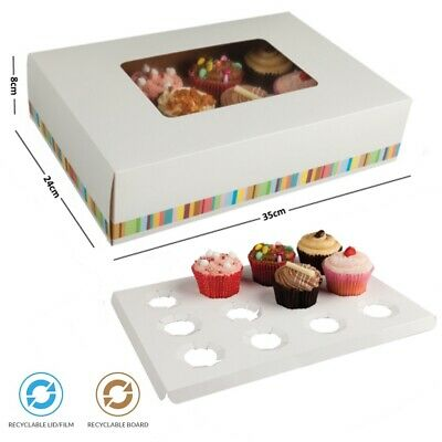 12 Cup Cupcake Cake Bakery Dessert Box & Inserts Disposable Recyclable Cardboard