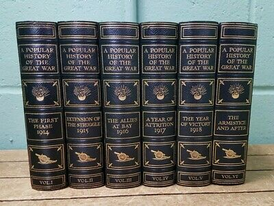 A Popular History Of The Great War 1914-1918 Volumes 1-6 Fleetway House B6
