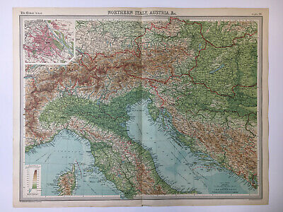 1922 Antique Old Map Bartholomew Times Atlas Of Northern Italy Austria