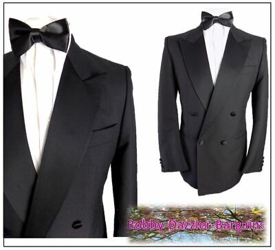 """Burton / M&S Mens Double Breasted Black Dinner Tuxedo suit Ch40""""R W32"""" L29"""" Prom"""