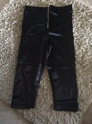 2285bf5d37dd3e Bnwt Black Topshop High Waisted Disco Cropped Leggings Size 12 Zip Front  Detail