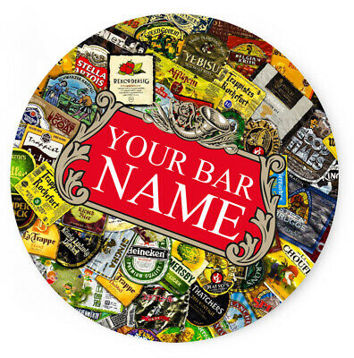 Personalised Any Name Bar Coaster Beer Home Pub Cafe Occasion Gift Idea 33