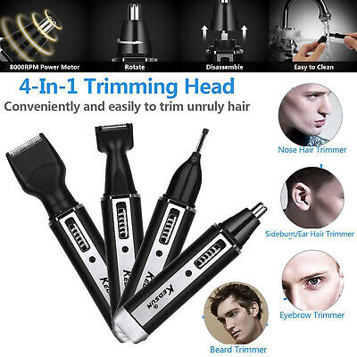 4 IN 1 Mens Hair Electric Shaver Eyebrow Ear Nose Trimmer Clipper Kit Waterproof