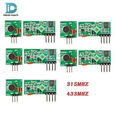 1/5PCS 315Mhz 433Mhz RF Transmitter & Receiver Wireless Module for Arduino ARM