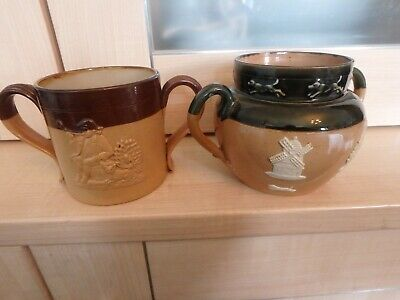 "Royal Doulton ""Lambeth""  Stoneware Two Vintage Embossed Double Handled Mugs"