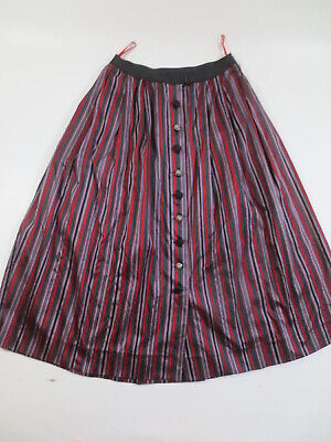 "Evening Skirt 40 42 Costume Burette Silk Stripes "" Red Grey Green "" / B1"