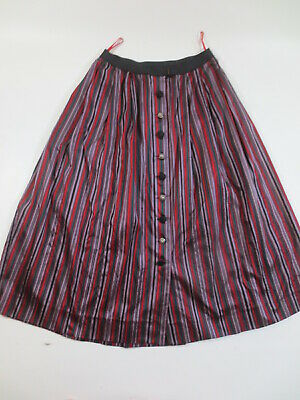 """Evening Skirt 40 42 Costume ( Silk or Look) """" Red Grey Green """" / B1"""
