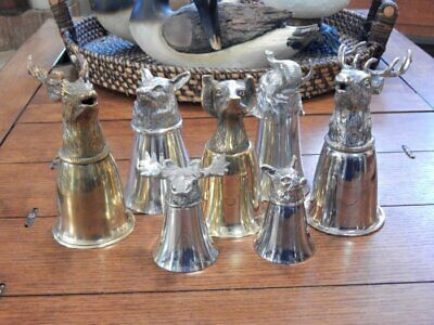 Vintage Collection Stirrup Cup Lot/7 GUCCI Stag Elephant Fox Moose Dog 3 Signed