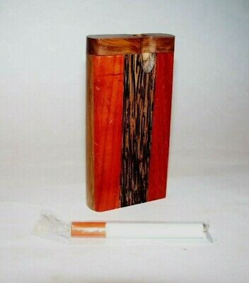 "Wood Dugout One Hitter 4"" with Cigarette Bat Red and Black Stripes Design"