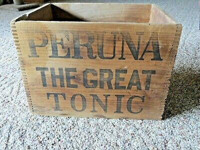 Peruna Medicine Co. Antique Advertising Wooden Crate Box Columbus Ohio