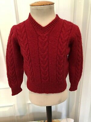 Vintage Hand Knitted Wool Childs Red Jumper Age 3/4