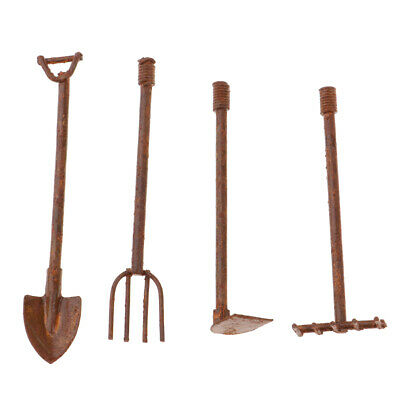 1:12 Scale Doll House Miniature Garden Tools Shovels and Axes Pitch Fork Set