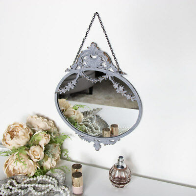 Vintage grey wall mirror ornate French chic swag hanging display living room