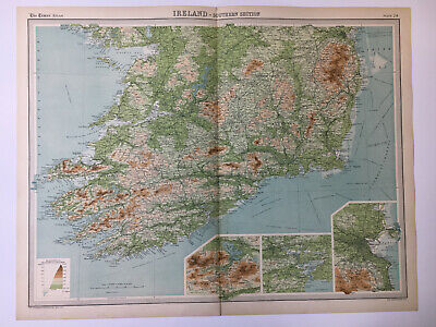1922 Antique Old Map Bartholomew Times Atlas Of Ireland Southern Section